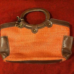 Fossil straw/fabric handbag